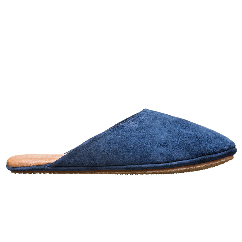 This is the side view of the Dark Blue Suede Leather Slippers