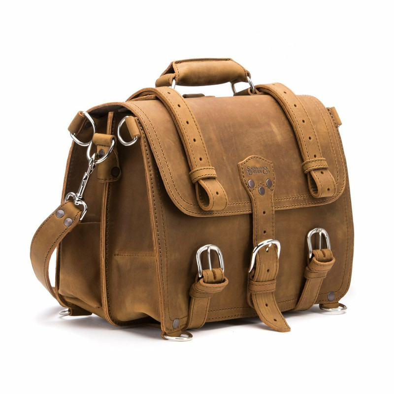 This is a tan brown leather briefcase 14 inches wide with three straps on the front.