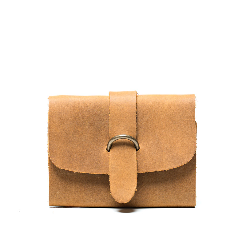 This is the front view of the light tan leather passport wallet