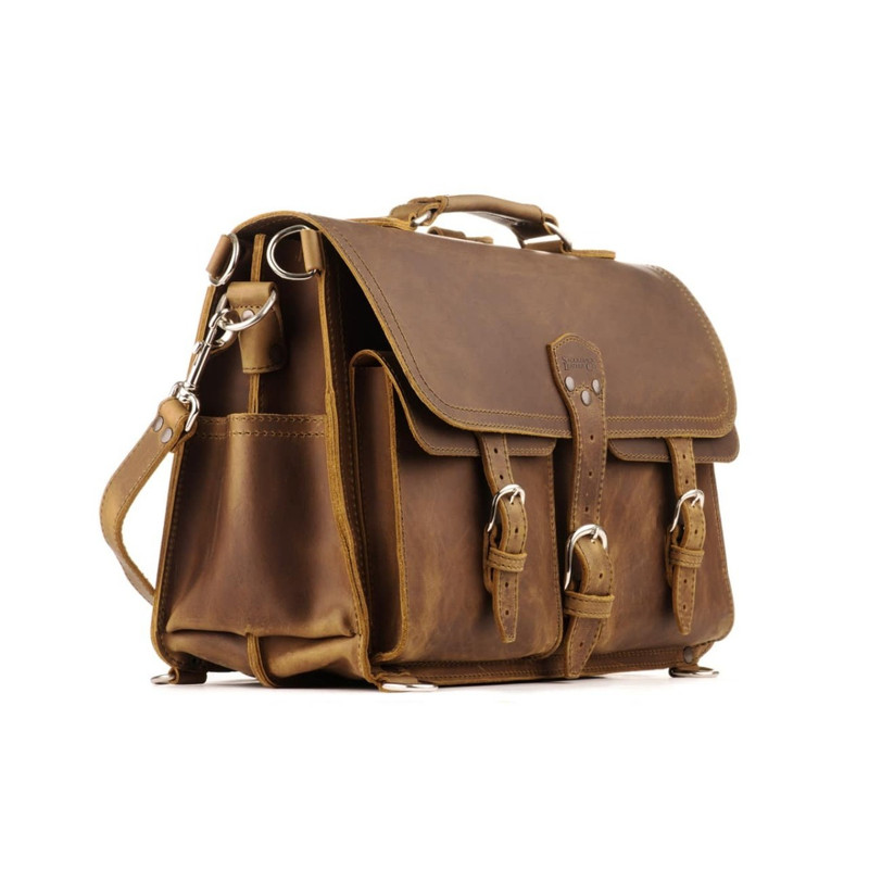 This is a brown leather briefcase that has front pockets and his big.