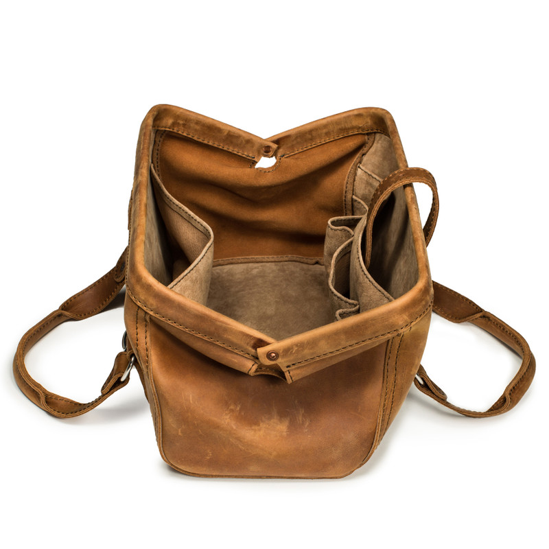 This tan brown leather doctor's leather tool bag is open