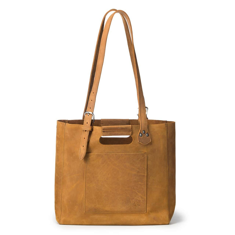 This is a tan brown women's leather tote that some women use as a purse. It is facing the back.