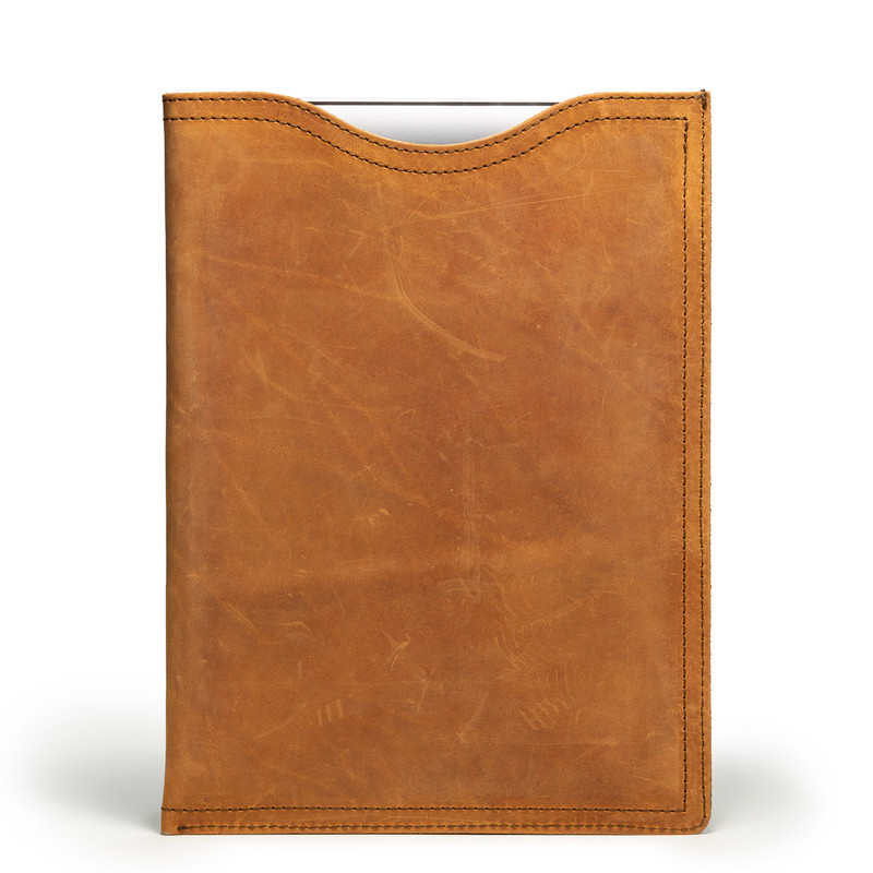 This is a tan brown 15 inch vertical leather laptop sleeve from the front.