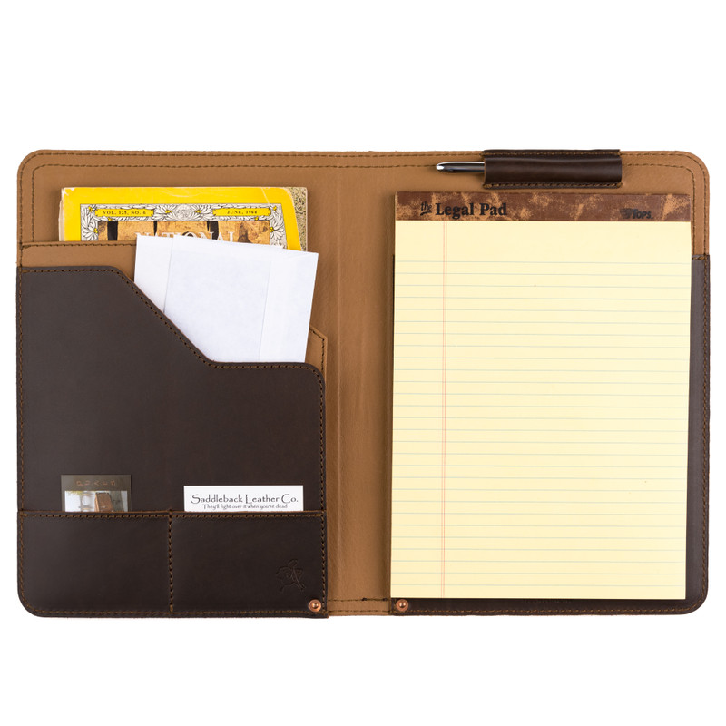 This is a dark brown leather portfolio padfolio inside with a pad of paper.