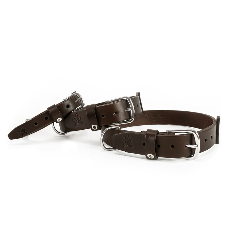 These are our dark brown large, medium, small leather dog collars.