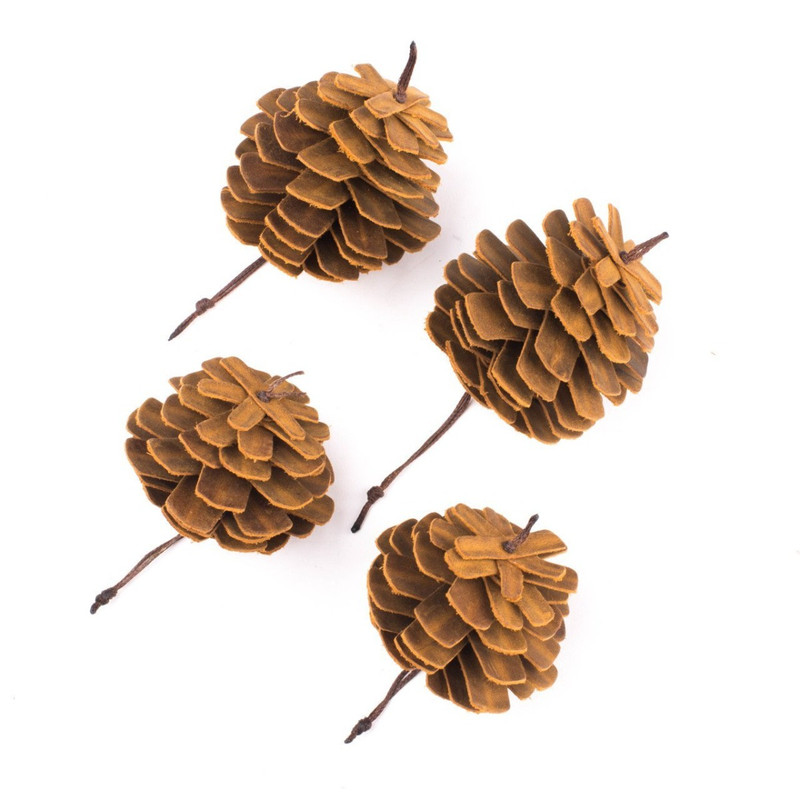 Leather Pine Cone Ornaments