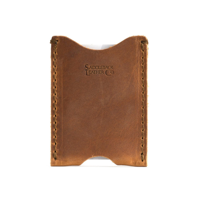 This is the front of a thin tan brown leather card sleeve wallet.