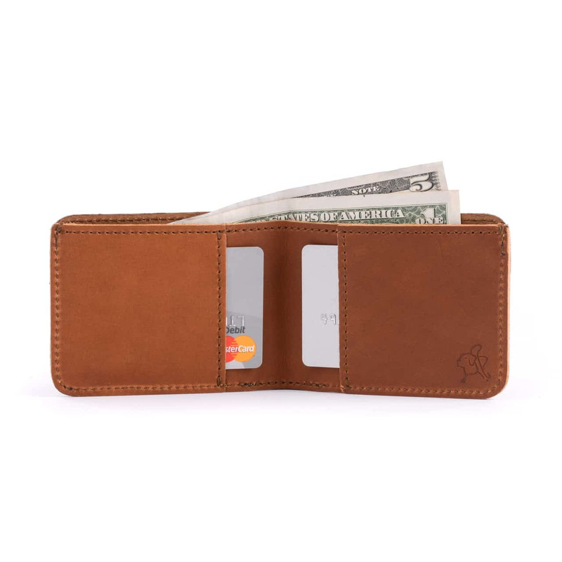 This is the inside of a small narrow tan brown leather bifold wallet.