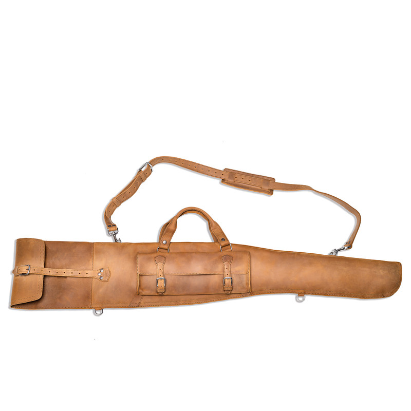 This is a tan brown leather gun sleeve for rifles and shotguns and it is facing the back.