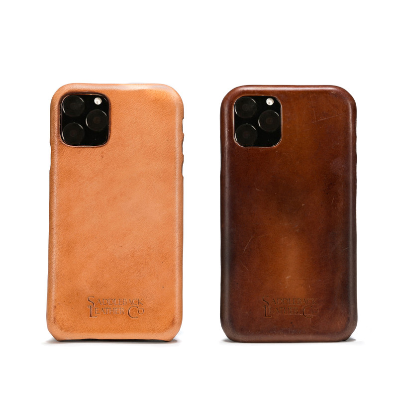 These two iPhone 11 pro max cases are the same but one is new and natural and one is broken in and aged.