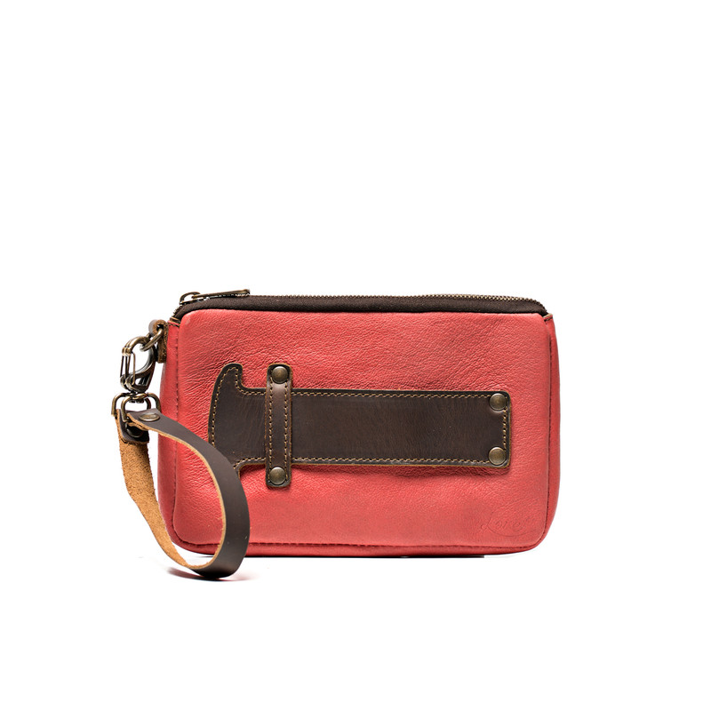 This is the view of the front of the leather handle clutch purse in dark brown and red