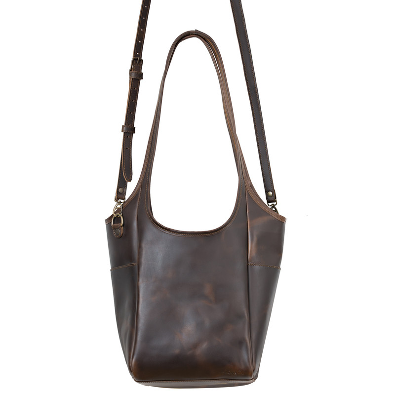 This is the front view of the dark brown shoulder leather tote with straps