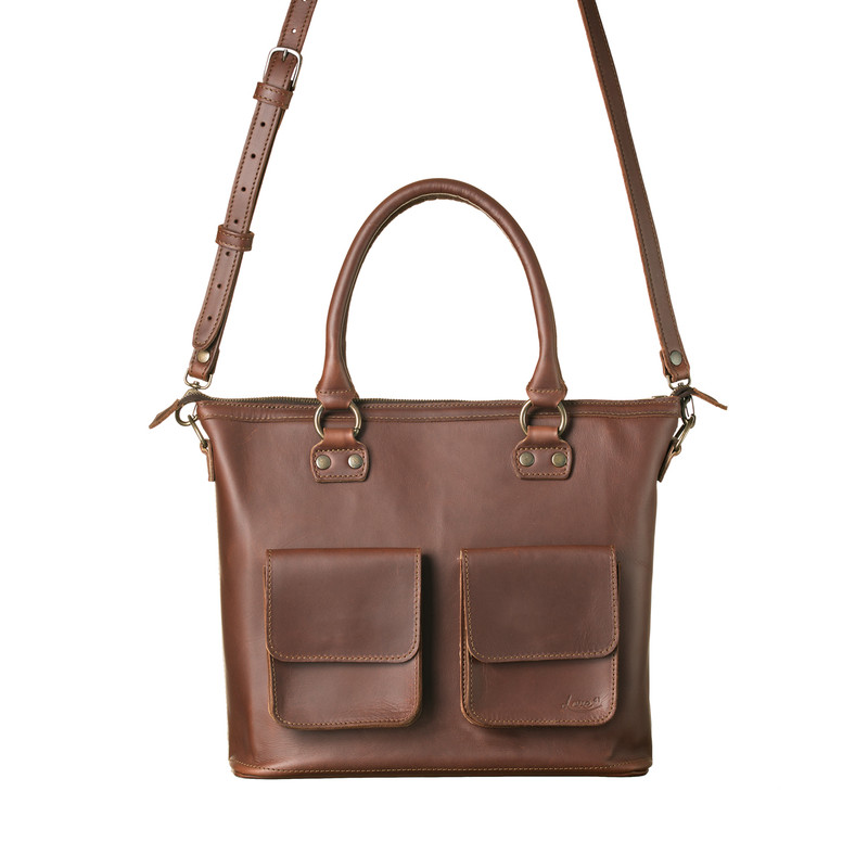 This is the front view of the Classic Crossbody Leather tote in reddish brown leather showing straps