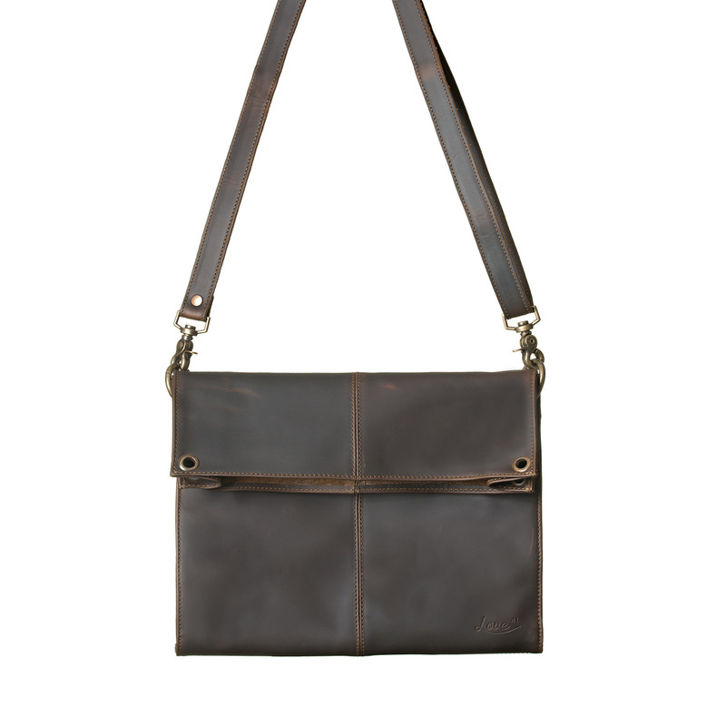This is the front view of the dark brown Nora Crossbody Leather Bag