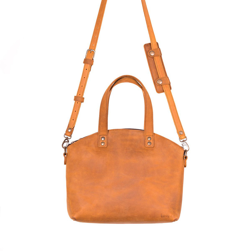 This is the front view of the leather satchel tote in tan