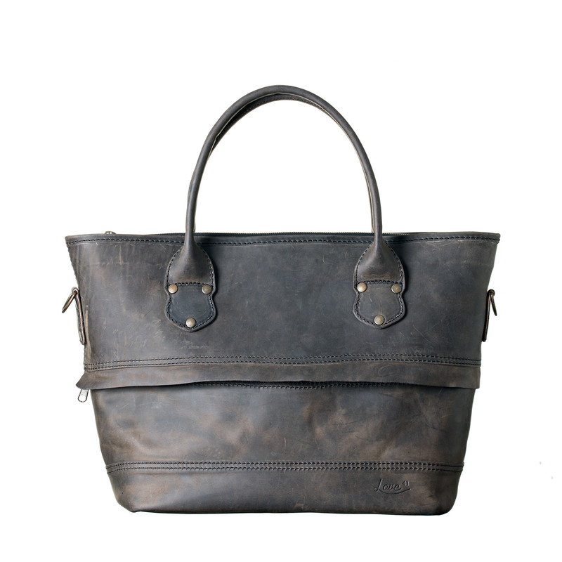 This is the front view of the leather zipper tote in black leather