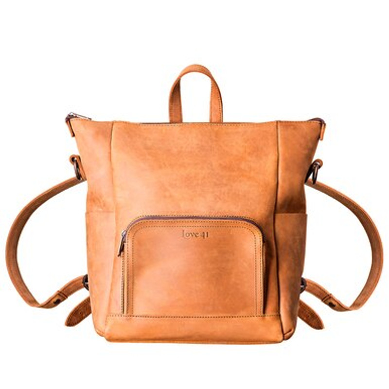 This tan leather backpack is perfect for everyday carry