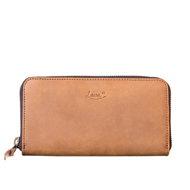 This is a tan brown large zippered leather wallet from the front.