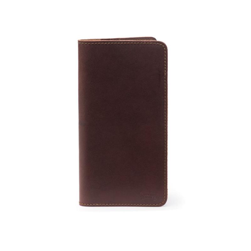 Long Leather Passport Wallet - Chestnut
