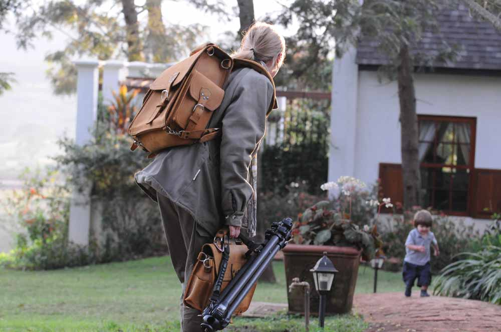 leather backpack on Suzette in Tanzania