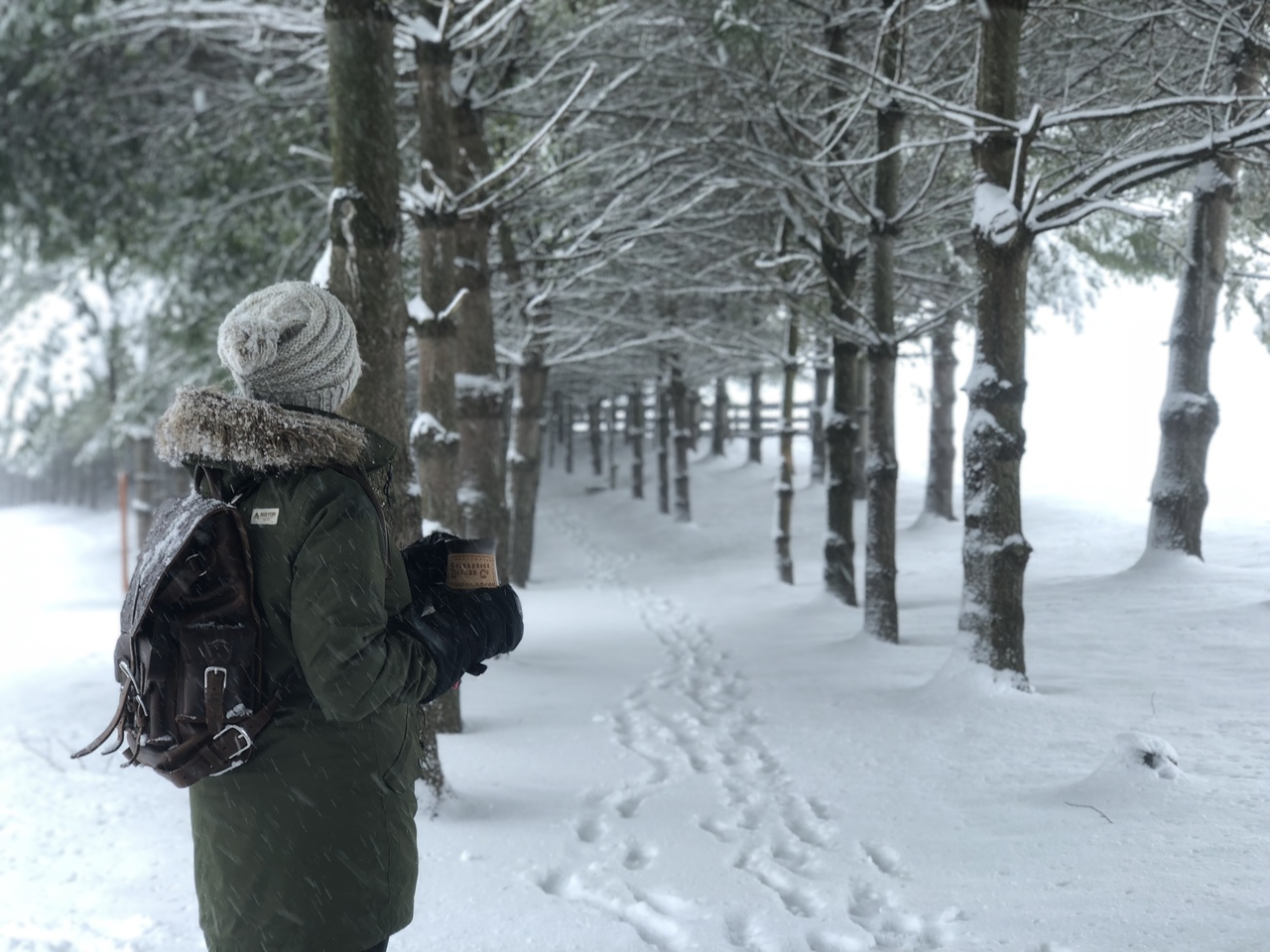 leather backpack with woman in the snow