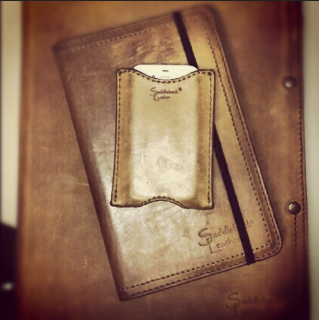 leather business card holder sleeve with a Moleskine journal cover