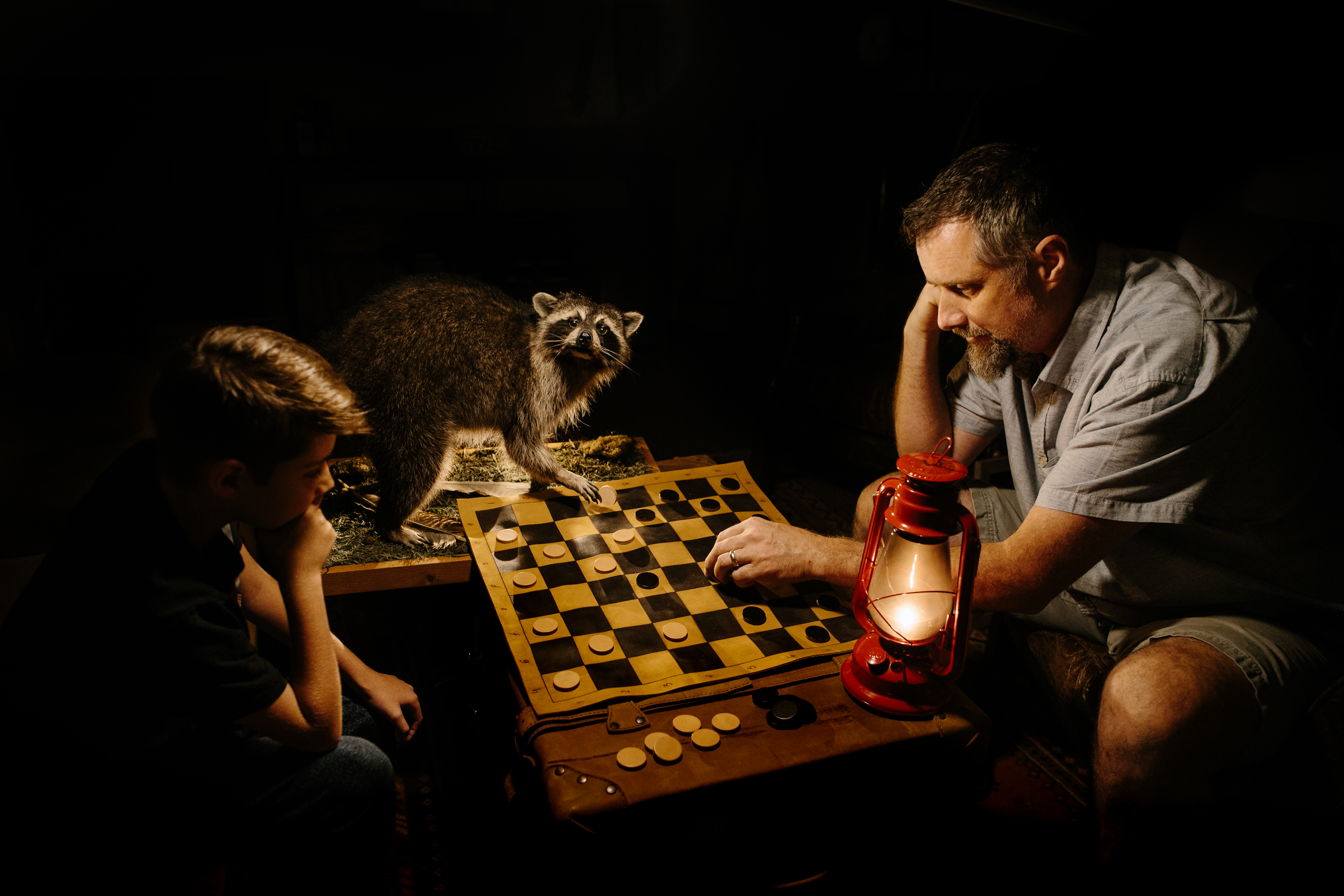 travel chess set father son travel raccoon