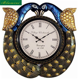 Wooden Peacock Painted Wall Clock
