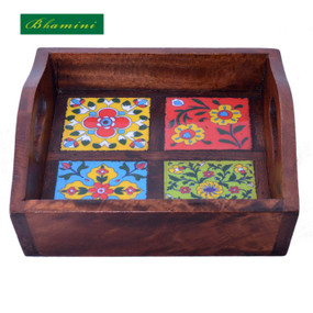 Ceramic Tile Wooden Tray
