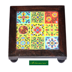 10 Inch Wooden Chowki with Ceramic Tiles