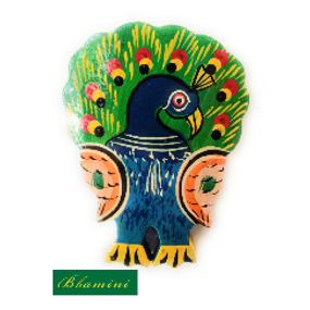 Wooden Peacock Magnet