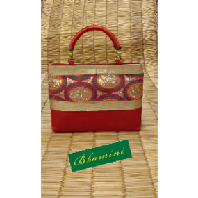 Rich embroidered red party bag