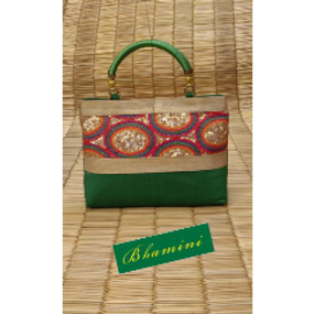Rich embroidered green party bag