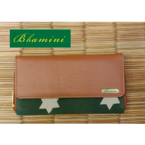 Green Fabric Wallet with Vegan Leather Flap