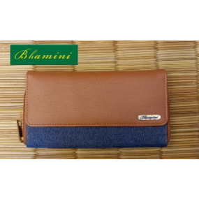 Blue Denim Fabric Wallet with Vegan Leather Flap