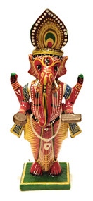 Standing Wooden Painted Ganesha