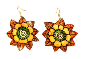Bhamini Leather Floral Earrings