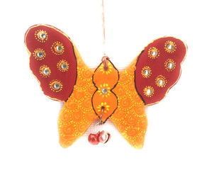 Bhamini Cone Art Orange and Red Butterfly Hanging