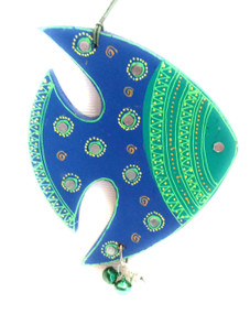 Bhamini Cone Art Blue and Green Fish Hanging