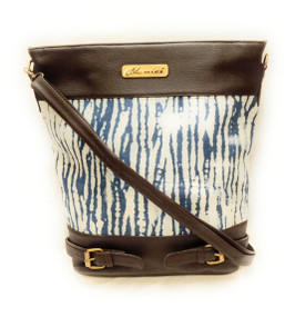 Bhamini Bucket Shape Indigo Blue Abstract Print Sling Cum Handbag