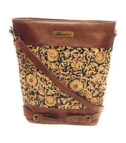 Bhamini Bucket Shape Black and Mustard Yellow Floral Kalamkari Print Sling Cum Handbag