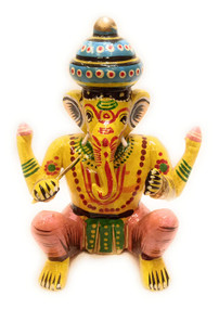 Bhamini Yellow Lord Ganesha with Flute Musical Instrument