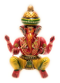 Bhamini Red Lord Ganesha with Flute Musical Instrument