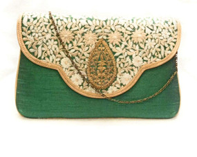 Bhamini Green Classy Embroidered Clutch