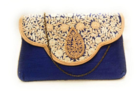 Bhamini Blue Classy Embroidered Clutch