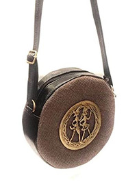 Bhamini Round Shape Brown Jute Sling Bag with Dokra Brooch