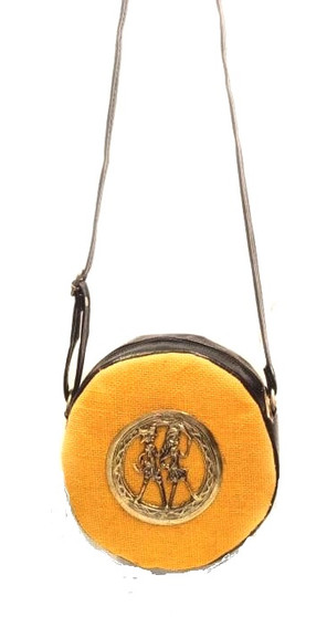 Bhamini Round Shape Yellow Jute Sling Bag with Dokra Brooch