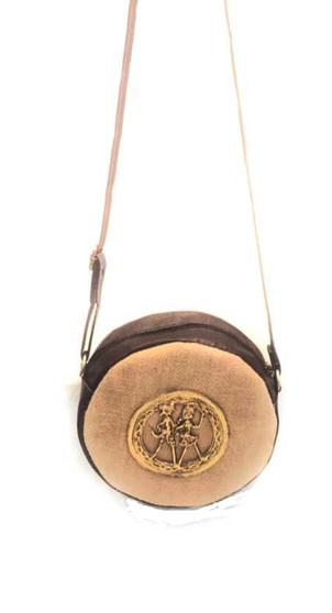 Bhamini Round Shape Natural Jute Sling Bag with Dokra Brooch