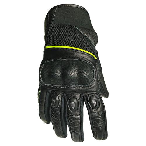 Leather Short Gloves Green /  Мотоциклетни Кожени Ръкавици