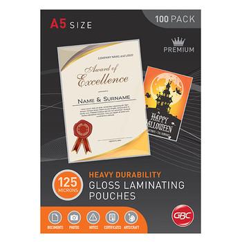 GBC Laminating Pouches A5 125 Micron Gloss Bx100